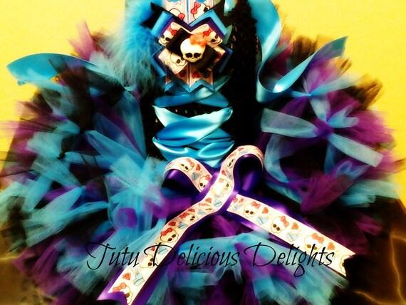 Girly Skull Monster Petti Tutu Dress, Kids Birthday Tutus, Punk Rock Tutu, Pageant Dress, Kids Photo Props