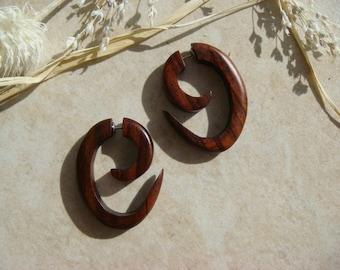Tribal Earrings / Wooden Fake Gauges Tribal Curl Spiral / men or women fake gauged earrings