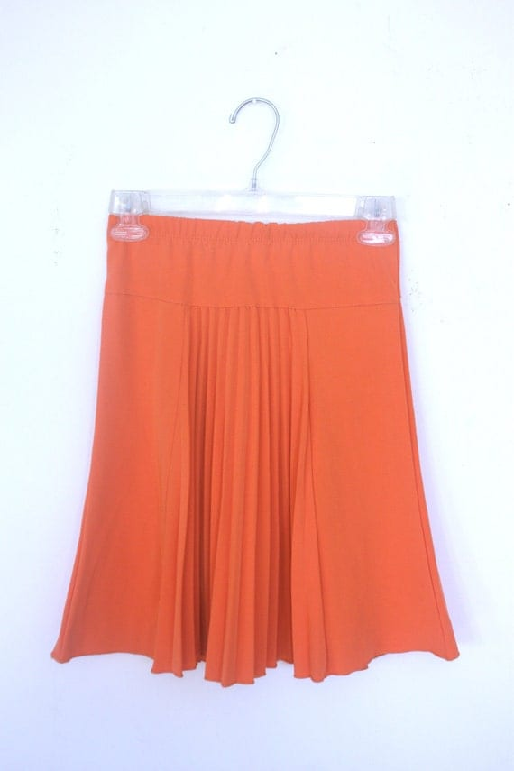 1970s tangerine orange pleated mini skirt size xxs xs