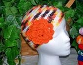 Reserved for richerjason701 - - - BEANIE Hat Striped Skull Cap Handmade Crocheted Candy Corn Fall Orange Girl Boho - Free ship in US