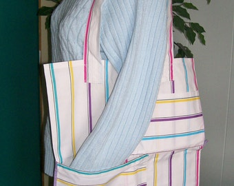 """Jewel tone TOTE BAG Striped Cotton Beach Grocery Overnight Carryall Pockets 17"""" x 21"""""""
