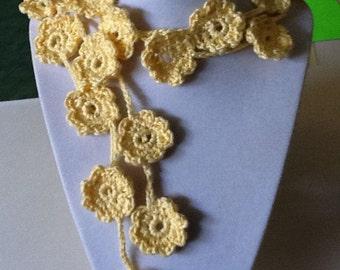 Yellow Maize Crochet Necklace, Lariat, Necktie & Fashion Scarf