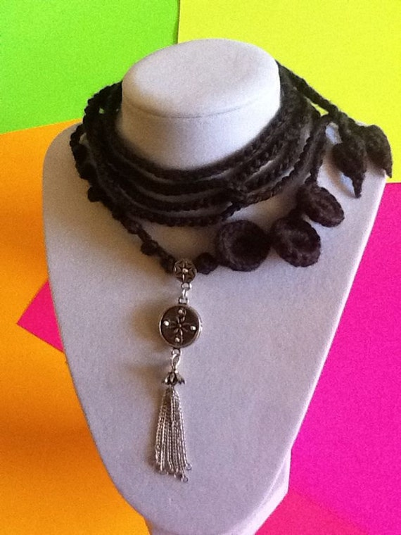 Handmade Crochet Necklace with Tassel Circle