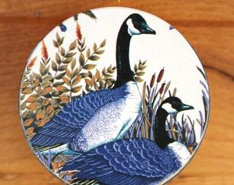 Goose Print Round Wooden Trinket Box - Brand New