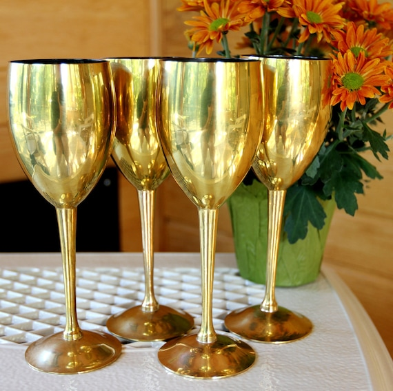 Gold Plated Brass Goblets Set Of 4 Sterling Silver Lined