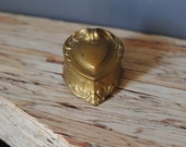 Heart Shaped Antique Ring Jewelry Box Gold Metal by Weidlich Mothers Day PROMOTION