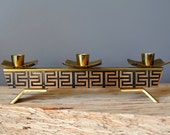 Candle Holder Vintage Gold Metallic Greek Key Design with Three Taper Candles