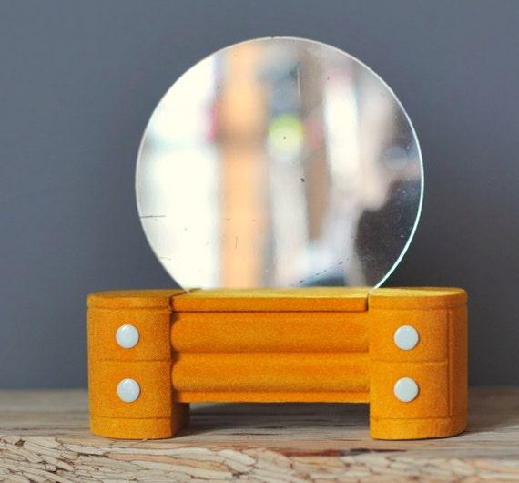 Jewelry Trinket Box Art Deco Style Dresser with Mirror Vintage Gold Flocking
