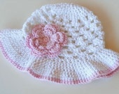 Girls Crochet Sun Hat with Floral Embellishment  -Handmade Summer Hat for Preemies Infants Toddlers Adults