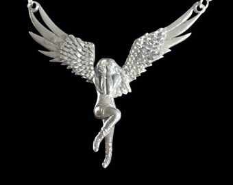 Solid 92.5% Sterling Silver Fallen Angel Pendant with Necklace - Free Shipping