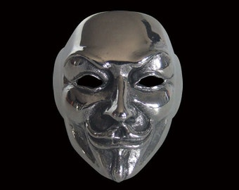 Stainless Steel Guy Fawkes V Mask Biker Ring - Free Re-Size/Shipping