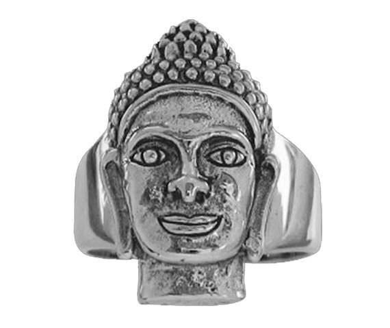 Solid 92.5% Sterling Silver Khmer Vishnu Men's Ring - Free Re-Size/Shipping