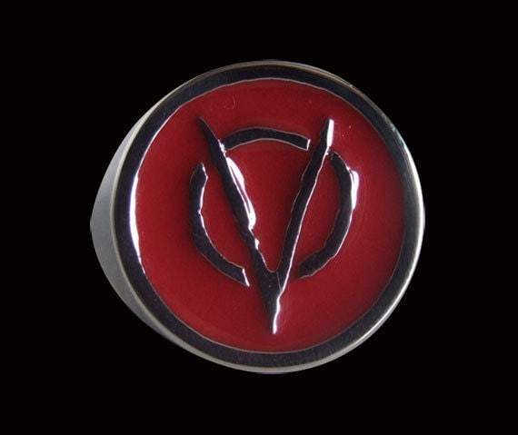 Stainless Steel V for Vendetta Biker Ring with Red Enamel - Free Re-Size/Shipping