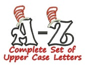 Instant Download PES, Cat in the Hat Applique, Embroidery Applique, Dr Seuss Applique, Dr. Seuss, Set of Upper Case Applique Letters - MyIttyBittyDesigns