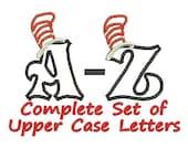 Cat in the Hat Applique, Embroidery Applique, Dr Seuss Applique, Set of Upper Case Applique Letters (175) Instant Download
