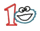 Cookie Monster Applique, Sesame Street Design, Embroidery Design (131) Instant Download
