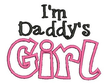 Daddy's Girl Embroidery Design, Applique Font (510) Instant Download