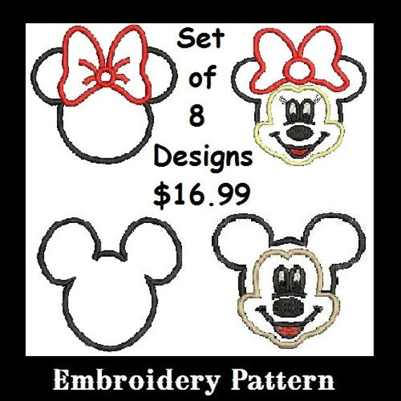 Minnie Applique, Mickey Applique, Set of 8 Designs, Disney Applique, Embroidery Design