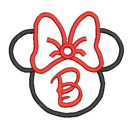 Minnie Mouse Applique, Minnie Ears, Minnie Monogram, Embroidery Design, Minnie Head Applique, Applique Minnie (C5)
