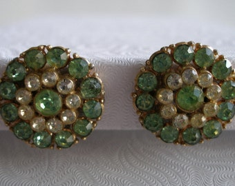 Vintage Green and Clear Crystal Earrings