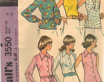 1973 UNCUT  McCalls Vintage Plus Size Blouse Pattern