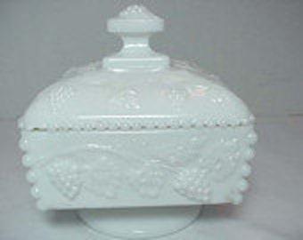 Signed Westmoreland Vintage Milk Glass Covered Candy Dish .....Paneled Grape Design Christmas Lidded Relish Dish