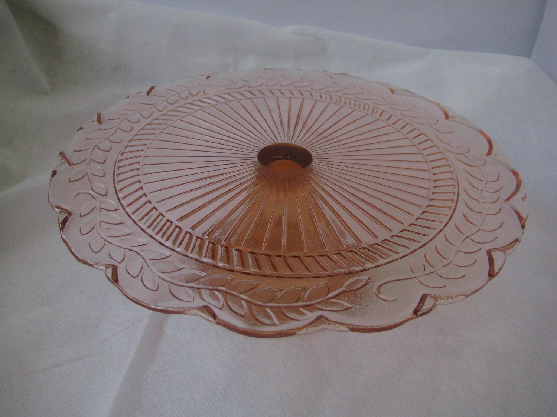 Pink Depression Glass Vintage Cake Plate Retro Pink Glass