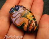 Bright Organic Lampwork Large Focal Bead - abstract