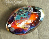 RESERVED Purple Blue Orange Oval Lampwork Large Focal Bead