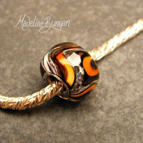 Tiger Wig Wag Silver Cored Lampwork Glass Bead