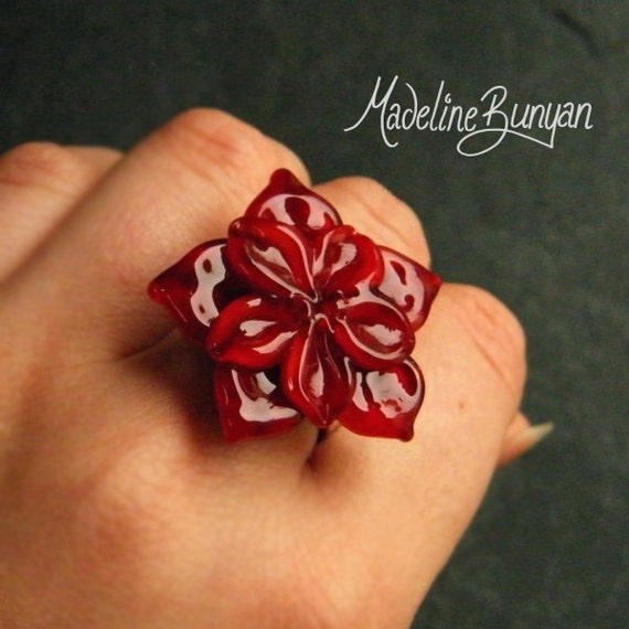 SALE 20% off - Rich Red Flower - Interchangeable Lampwork Ring Top