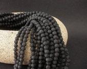 "Black Lava 4mm Round Beads Full 15 1/2"" Strand"