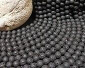 Black Lava Beads 10mm Round Full Strand