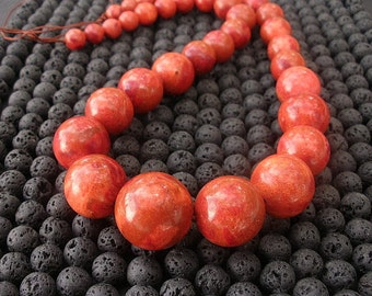 "Red Sponge Coral Graduated 8-18mm Beads - 16"" Strand - Liquation Close Out  Pricing / Limited Quanity"