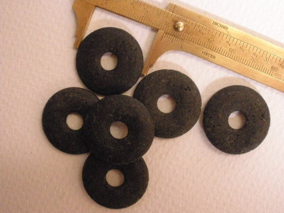 Lava Stone 30mm Donut - 6 Piece Lot