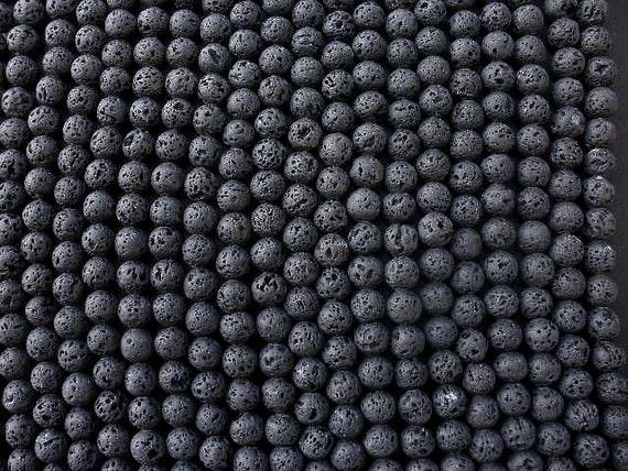 RESERVED LISTING Black Lava 8mm Round Beads - Full Strand 13 STRANDS / Less 5%