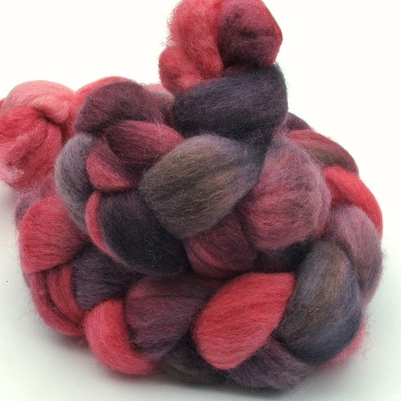 RESERVED for Kerry - BFL Blue Faced Leicester combed wool top roving braid - hand dyed - 4 oz - Vampire