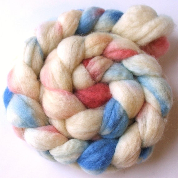 CLEARANCE SALE - BFL Blue Faced Leicester combed wool top roving braid - hand dyed - 4 oz - Powder Puff