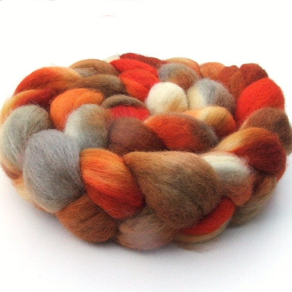 BFL Blue Faced Leicester combed wool top roving braid - hand dyed - 4 oz - Pomegranate