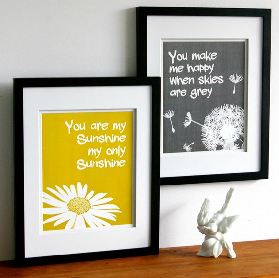 You are my sunshine print set yellow and grey custom for Mustard bathroom accessories uk
