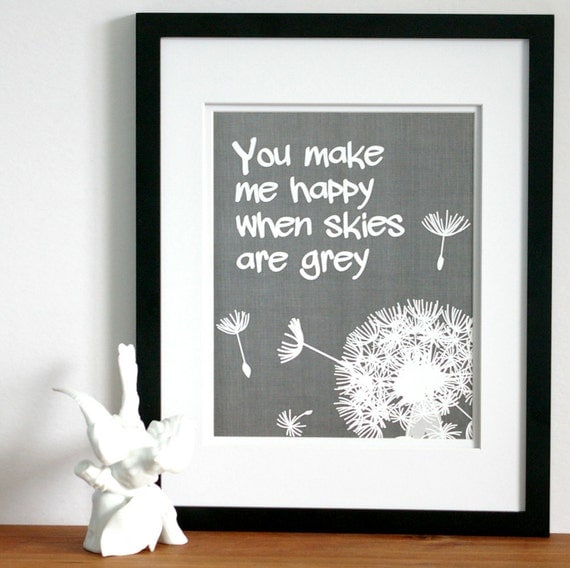 You are my sunshine or you make me happy print -custom colors- typography prints, kids word art nursery wall art