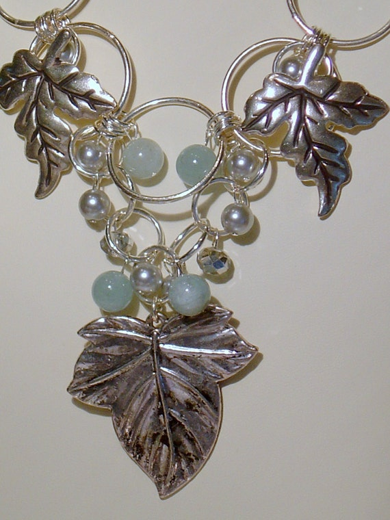 Pewter, Pearl, Aquamarine, Crystal and Silver Rings Necklace