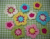crochet flowers pastel shades with pink scrapbook  card applique