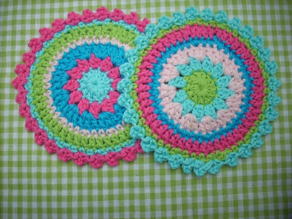 crochet coaster large crochet applique aqua pink lime green girly shades set of 2