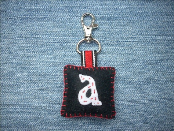 Felted keychain black red white  primary school boy gift idea