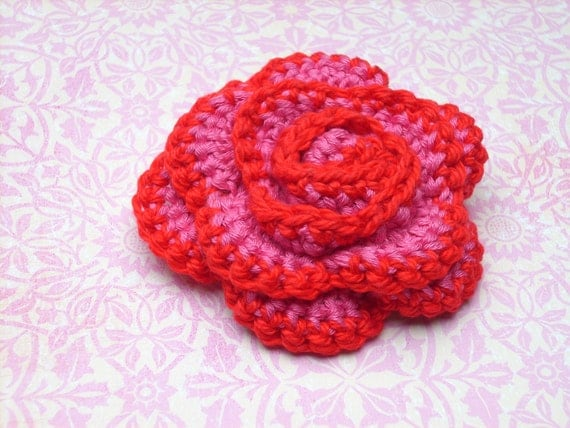 crocheted rose brooch, pink and red, not just for Valentine's Day