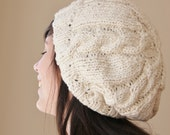 Knit Slouchy Girls Hat in Cream Organic Cotton with Cables