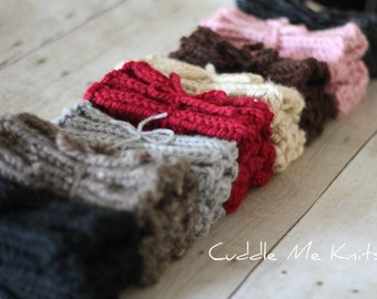 Knit Boot Cuffs ON SALE, Chunky Ribbed Boot Socks, One Pair, Choose Your Color