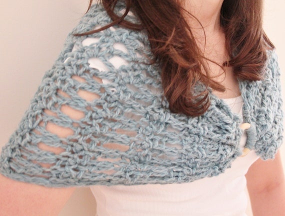 Blue Capelet Shrug Crocheted in Blue Wool, ON SALE
