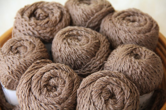 Four Skeins of Yarn in Mocha Brown, DK Merino Wool Blend, Total of 588 Yards